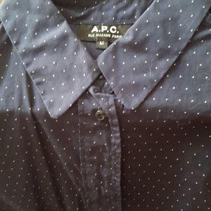 A.P.C. Tops - A.P.C. Navy Dot Mike Shirt